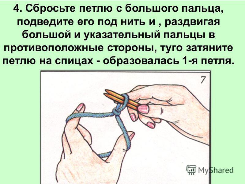 3. В образовавшуюся петлю захватить нить с указательного пальца, протянуть ее в петлю.