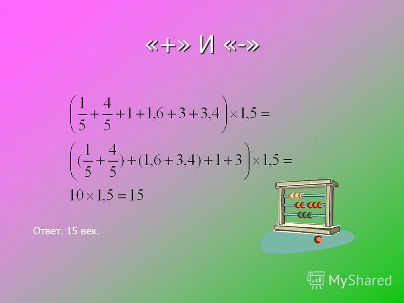 «+» и «-» Ответ. Видман. Ответ. Видман. Сумму координат данных точек увеличьте в 1,5 раза и вы узнаете, в конце какого века появились знаки «+» и «-». Сумму координат данных точек увеличьте в 1,5 раза и вы узнаете, в конце какого века появились знаки