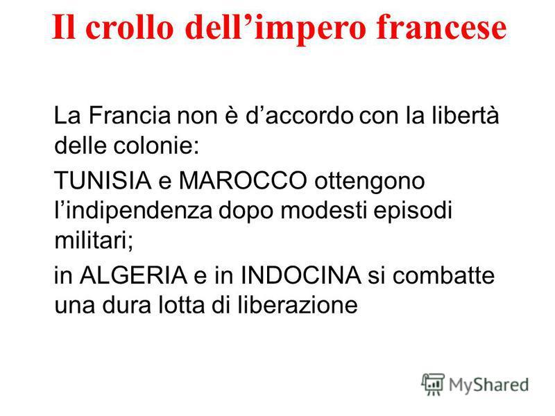 La Francia non è daccordo con la libertà delle colonie: TUNISIA e MAROCCO ottengono lindipendenza dopo modesti episodi militari; in ALGERIA e in INDOCINA si combatte una dura lotta di liberazione Il crollo dellimpero francese