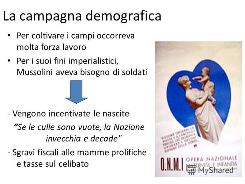La campagna demografica Per coltivare i campi occorreva molta forza lavoro Per i suoi fini imperialistici, Mussolini aveva bisogno di soldati - Vengono incentivate le nascite Se le culle sono vuote, la Nazione invecchia e decade