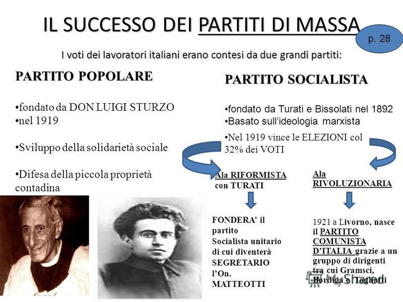 IL SUCCESSO DEI PARTITI DI MASSA I voti dei lavoratori italiani erano contesi da due grandi partiti: PARTITO SOCIALISTA fondato da Turati e Bissolati nel 1892 Basato sullideologia marxista PARTITO POPOLARE fondato da DON LUIGI STURZO nel 1919 Svilupp