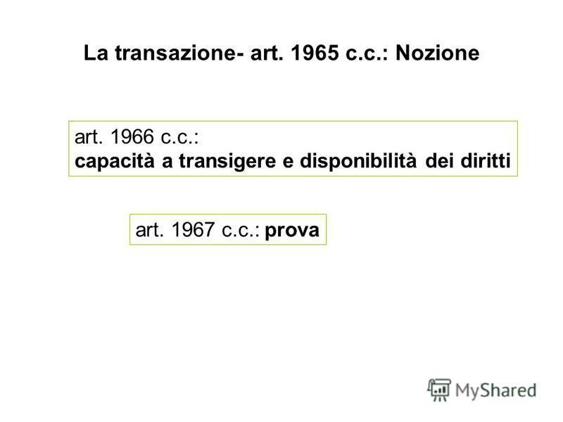 La transazione- art. 1965 c.c.: Nozione art. 1966 c.c.: capacità a transigere e disponibilità dei diritti art. 1967 c.c.: prova