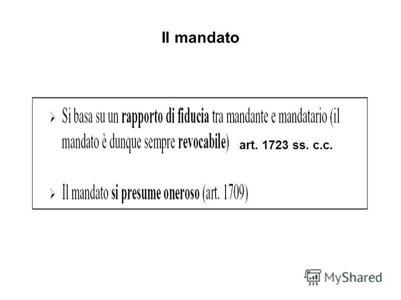 Il mandato art. 1723 ss. c.c.