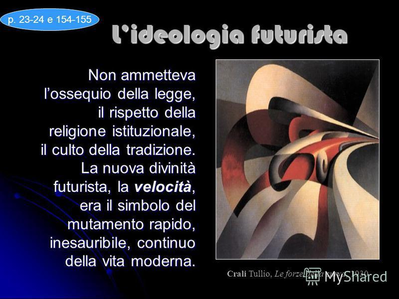 Lideologia futurista Non ammetteva lossequio della legge, il rispetto della religione istituzionale, il culto della tradizione. La nuova divinità futurista, la velocità, era il simbolo del mutamento rapido, inesauribile, continuo della vita moderna.