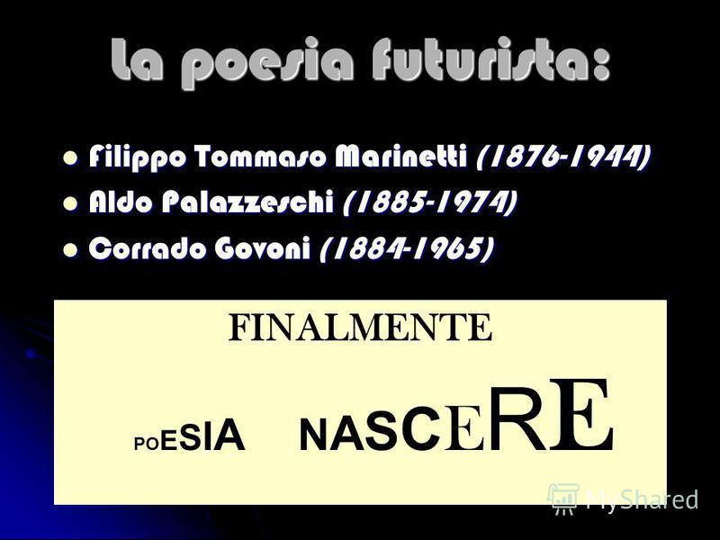 La poesia futurista: Filippo Tommaso Marinetti (1876-1944) Filippo Tommaso Marinetti (1876-1944) Aldo Palazzeschi (1885-1974) Aldo Palazzeschi (1885-1974) Corrado Govoni (1884-1965) Corrado Govoni (1884-1965) FINALMENTE PO E S I A N A S C E R E
