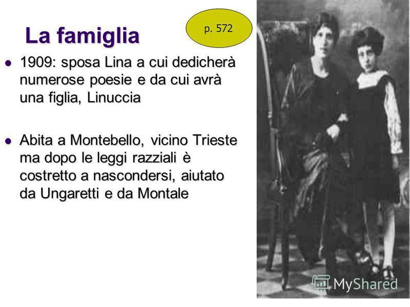 La famiglia 1909: sposa Lina a cui dedicherà numerose poesie e da cui avrà una figlia, Linuccia 1909: sposa Lina a cui dedicherà numerose poesie e da cui avrà una figlia, Linuccia Abita a Montebello, vicino Trieste ma dopo le leggi razziali è costret