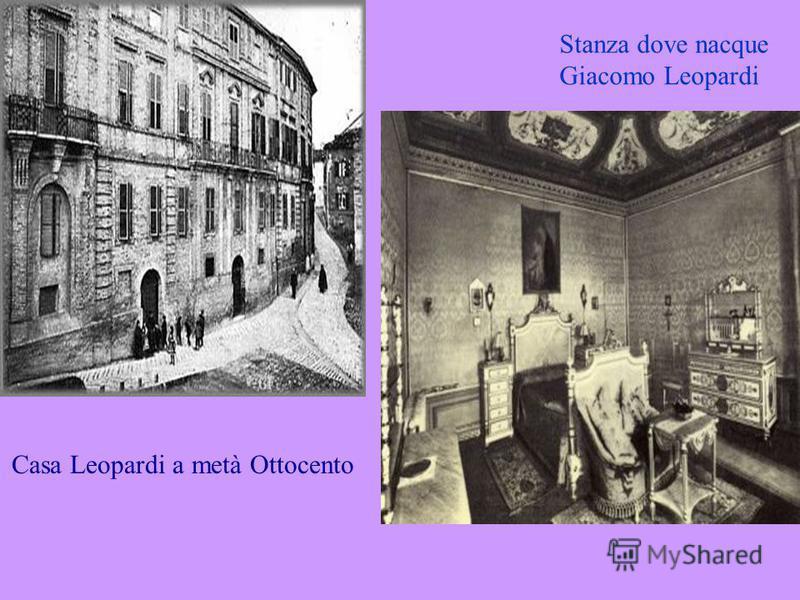 Stanza dove nacque Giacomo Leopardi Casa Leopardi a metà Ottocento