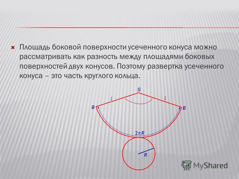 Площадь боковой поверхности усеченного конуса можно рассматривать как разность между площадями боковых поверхностей двух конусов. Поэтому развертка усеченного конуса – это часть круглого кольца.