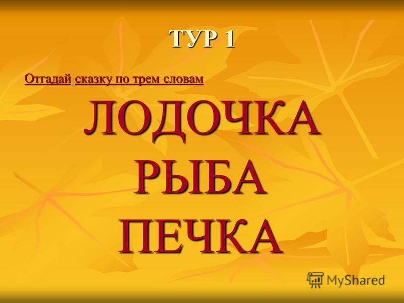 ТУР 1 Отгадай сказку по трем словам ЛОДОЧКА ЛОДОЧКАРЫБАПЕЧКА