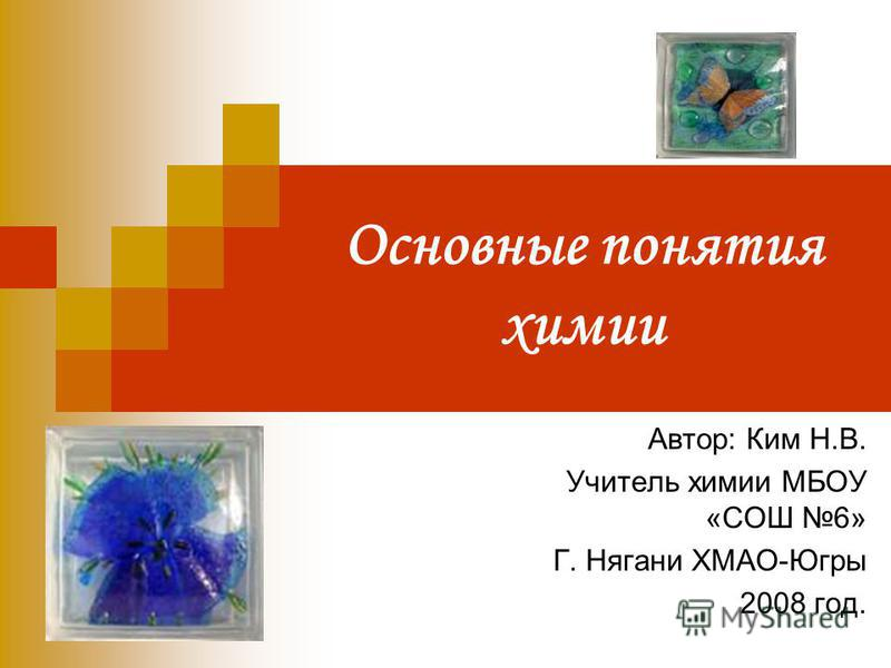 Основные понятия химии Автор: Ким Н.В. Учитель химии МБОУ «СОШ 6» Г. Нягани ХМАО-Югры 2008 год.