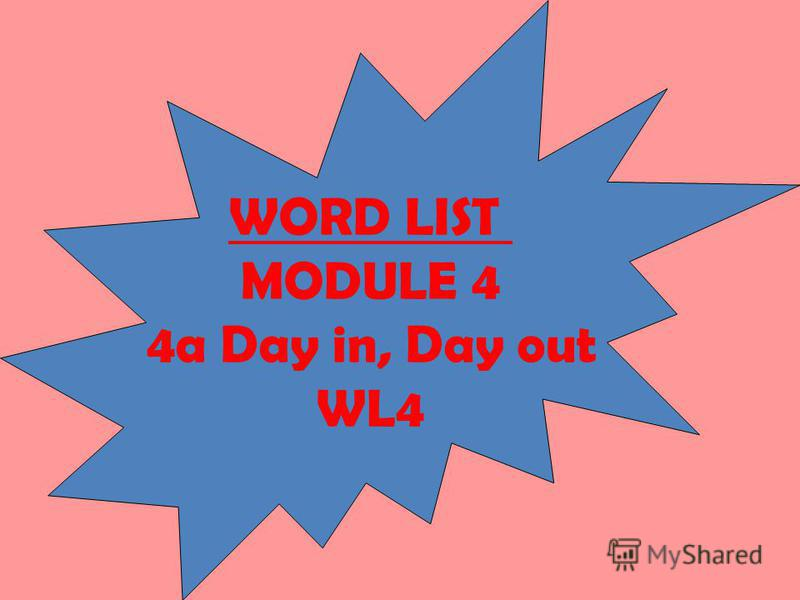 WORD LIST MODULE 4 4a Day in, Day out WL4