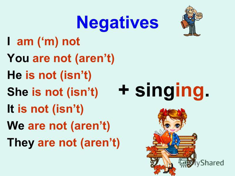 Negatives I am (m) not You are not (arent) He is not (isnt) She is not (isnt) It is not (isnt) We are not (arent) They are not (arent) + singing.