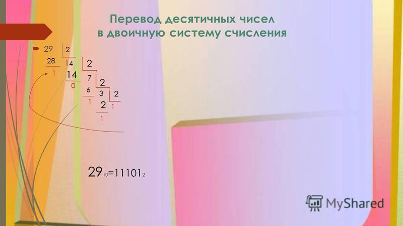 Перевод десятичных чисел в двоичную систему счисления 29 2 14 28 1 7 0 6 1 3 1 1 29 10 =11101 2