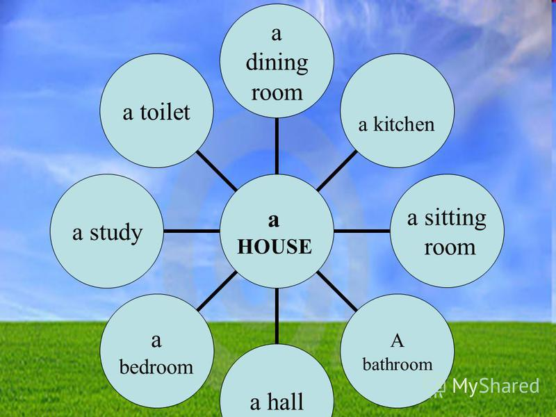 a dining rooma kitchen a sitting room A bathroom a hall a bedroom a studya toilet