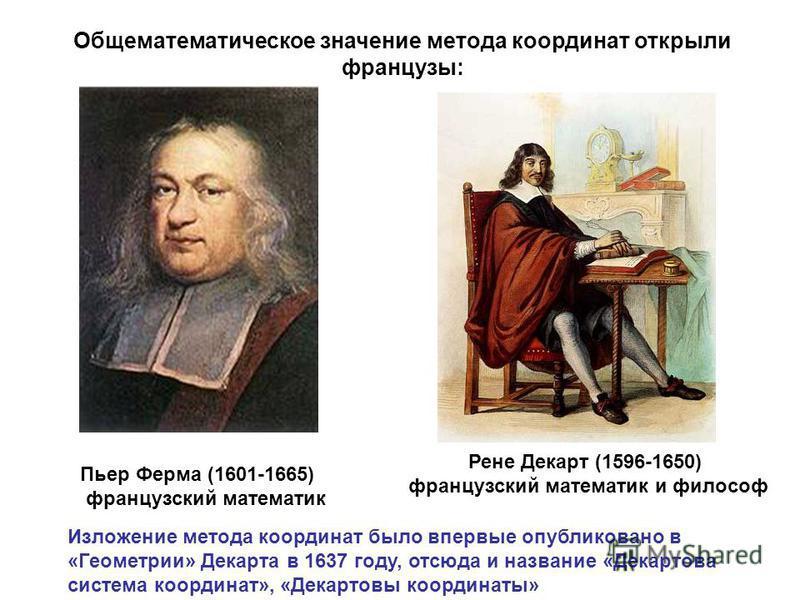 Пьер Ферма (1601-1665) французский математик Рене Декарт (1596-1650) французский математик и философ Изложение метода координат было впервые опубликовано в «Геометрии» Декарта в 1637 году, отсюда и название «Декартова система координат», «Декартовы к
