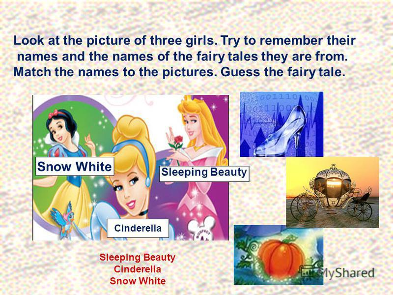 Look at the picture of three girls. Try to remember their names and the names of the fairy tales they are from. Match the names to the pictures. Guess the fairy tale. Cinderella Snow White Sleeping Beauty Cinderella Snow White