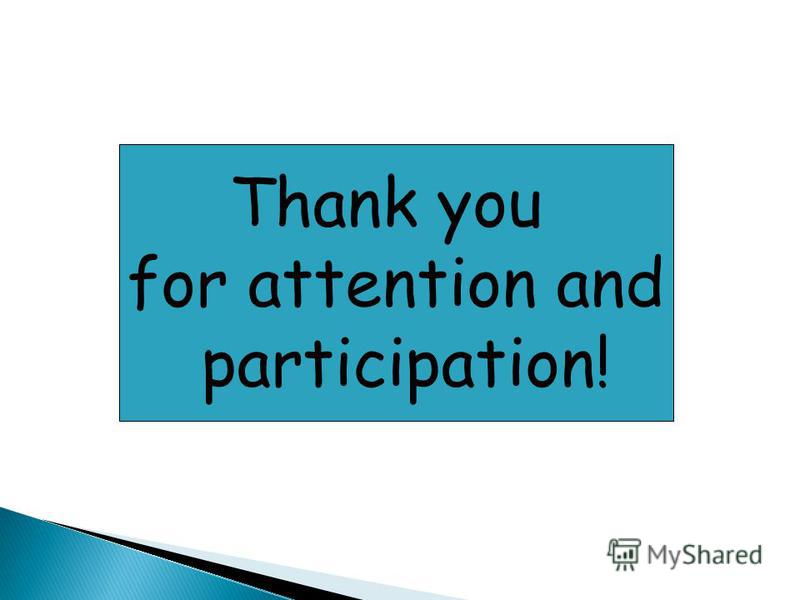 Thank you for attention and participation!