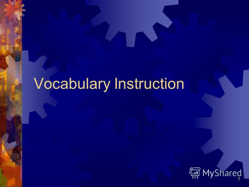 1 Vocabulary Instruction