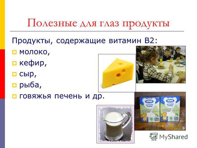 Полезные для глаз продукты Продукты, содержащие витамин В2: молоко, кефир, сыр, рыба, говяжья печень и др.