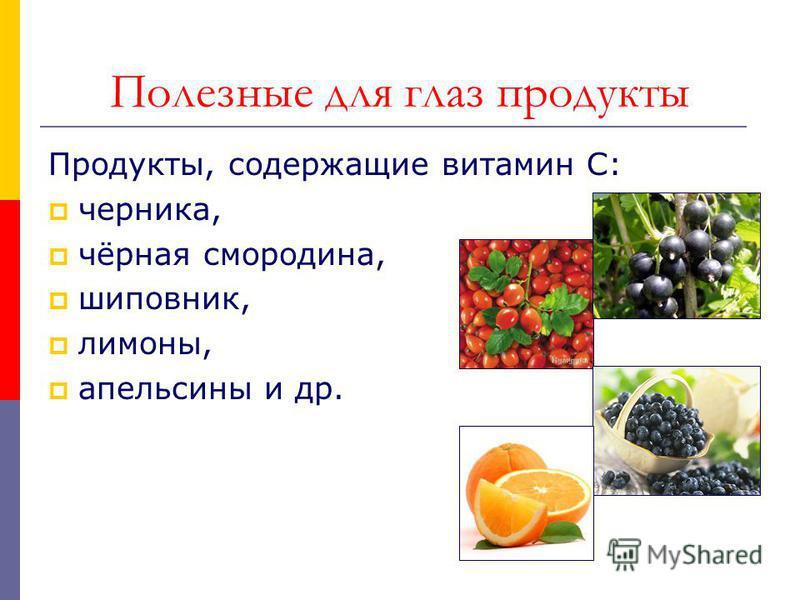 Полезные для глаз продукты Продукты, содержащие витамин С: черника, чёрная смородина, шиповник, лимоны, апельсины и др.