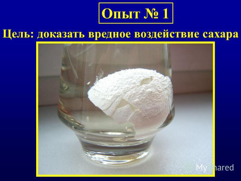 Опыт 1 Цель: доказать вредное воздействие сахара