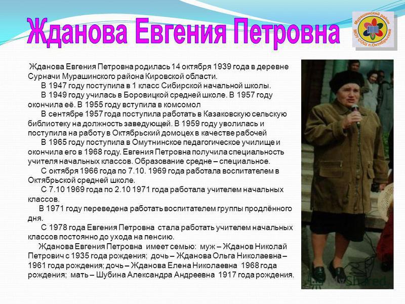 Жданова Евгения Петровна родилась 14 октября 1939 года в деревне Сурначи Мурашинского района Кировской области. В 1947 году поступила в 1 класс Сибирской начальной школы. В 1949 году училась в Боровицкой средней школе. В 1957 году окончила её. В 1955