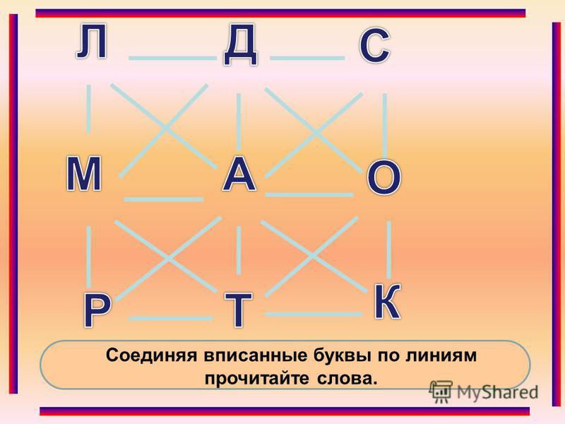 Соединяя вписанные буквы по линиям прочитайте слова. О ДТ Е Р К А