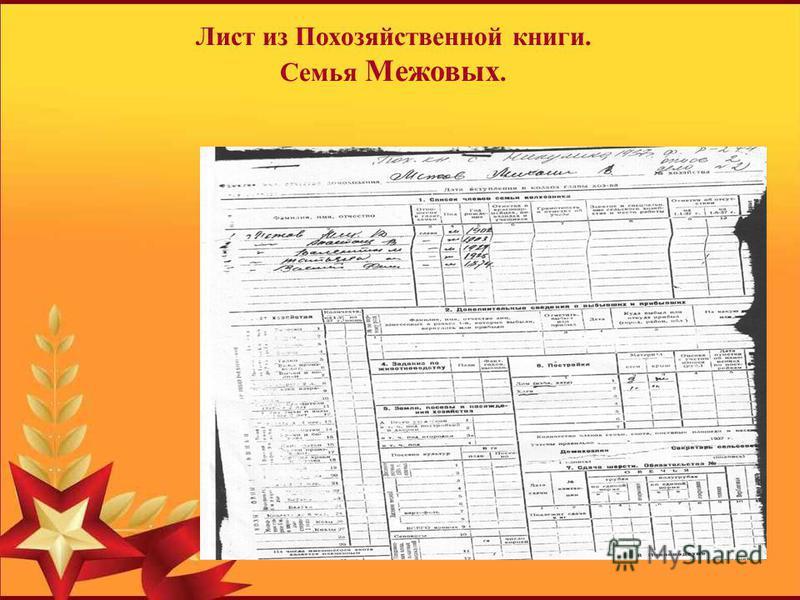 Лист из Похозяйственной книги. Семья Межовых.