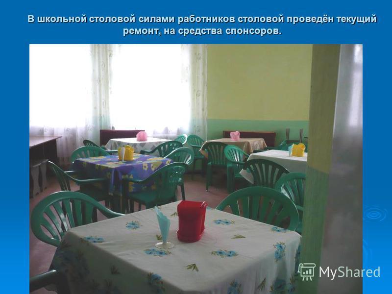 В школьной столовой силами работников столовой проведён текущий ремонт, на средства спонсоров.