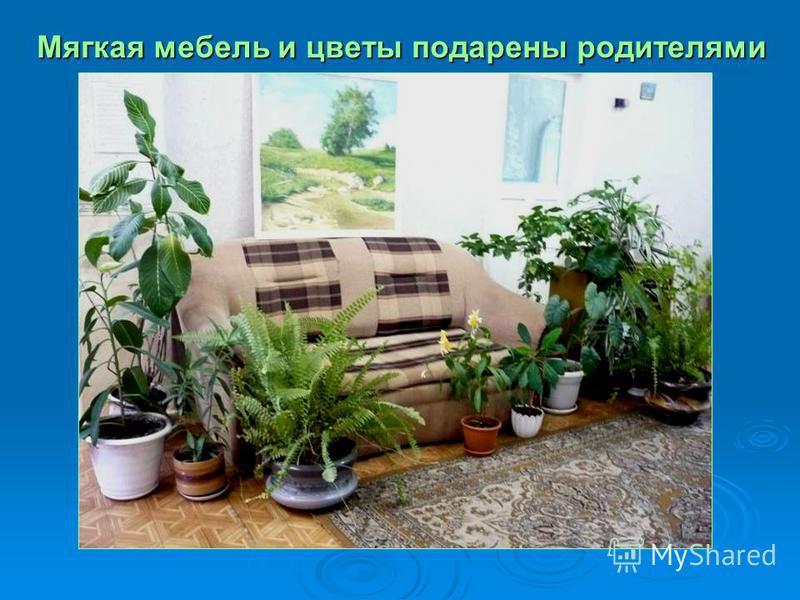 Мягкая мебель и цветы подарены родителями