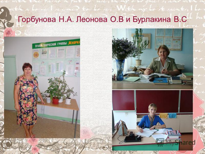 Горбунова Н.А. Леонова О.В и Бурлакина В.С
