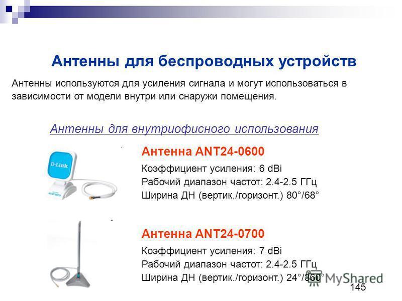 Антенны для беспроводных устройств Антенна ANT24-0600 Коэффициент усиления: 6 dBi Рабочий диапазон частот: 2.4-2.5 ГГц Ширина ДН (вертик./горизонт.) 80°/68° Антенны используются для усиления сигнала и могут использоваться в зависимости от модели внут