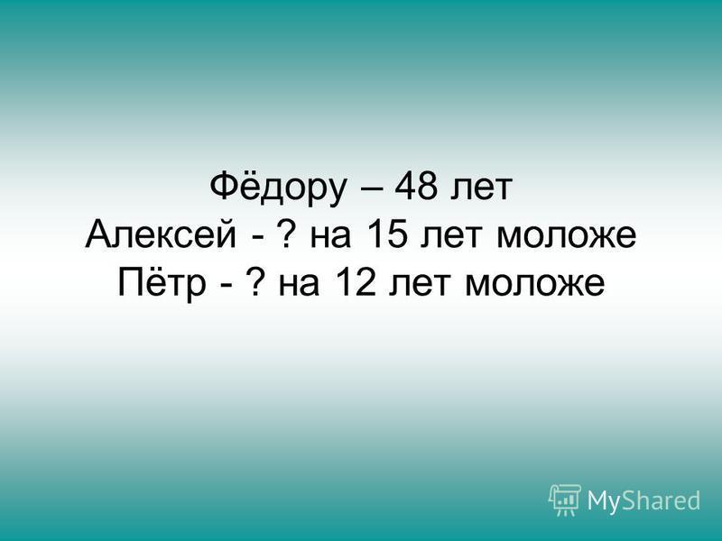 Фёдору – 48 лет Алексей - ? на 15 лет моложе Пётр - ? на 12 лет моложе