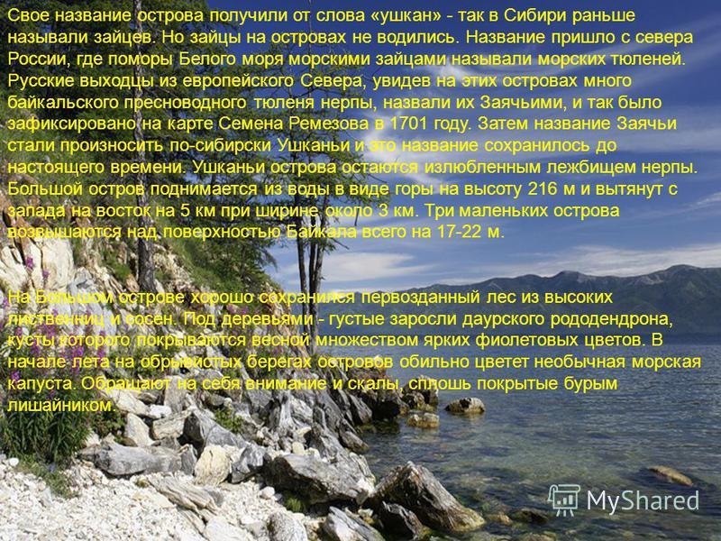 Свое название острова получили от слова «ушкан» - так в Сибири раньше называли зайцев. Но зайцы на островах не водились. Название пришло с севера России, где поморы Белого моря морскими зайцами называли морских тюленей. Русские выходцы из европейског