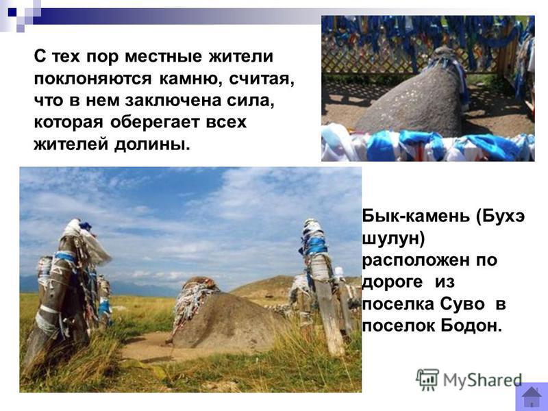 С тех пор местные жители поклоняются камню, считая, что в нем заключена сила, которая оберегает всех жителей долины. Бык-камень (Бухэ шалун) расположен по дороге из поселка Суво в поселок Бодон.