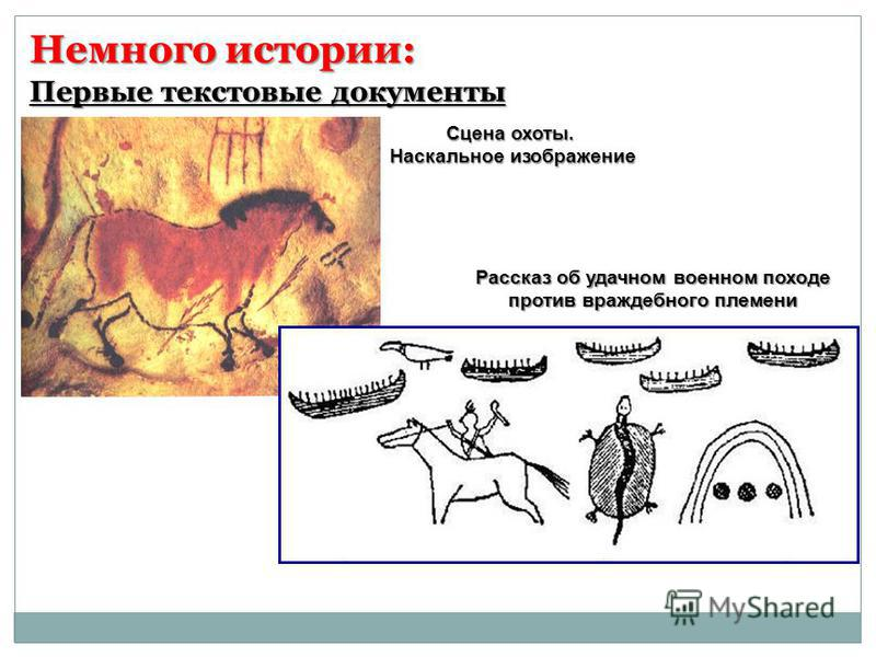 Немного истории: Сцена охоты. Наскальное изображение Рассказ об удачном военном походе против враждебного племени Первые текстовые документы