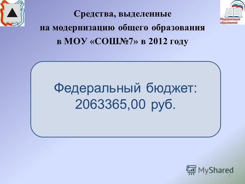 5 Средства, выделенные на модернизацию общего образования в МОУ «СОШ7» в 2012 году Федеральный бюджет: 2063365,00 руб.
