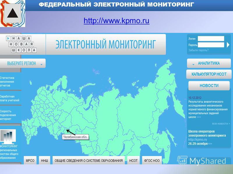 ФЕДЕРАЛЬНЫЙ ЭЛЕКТРОННЫЙ МОНИТОРИНГ http://www.kpmo.ru