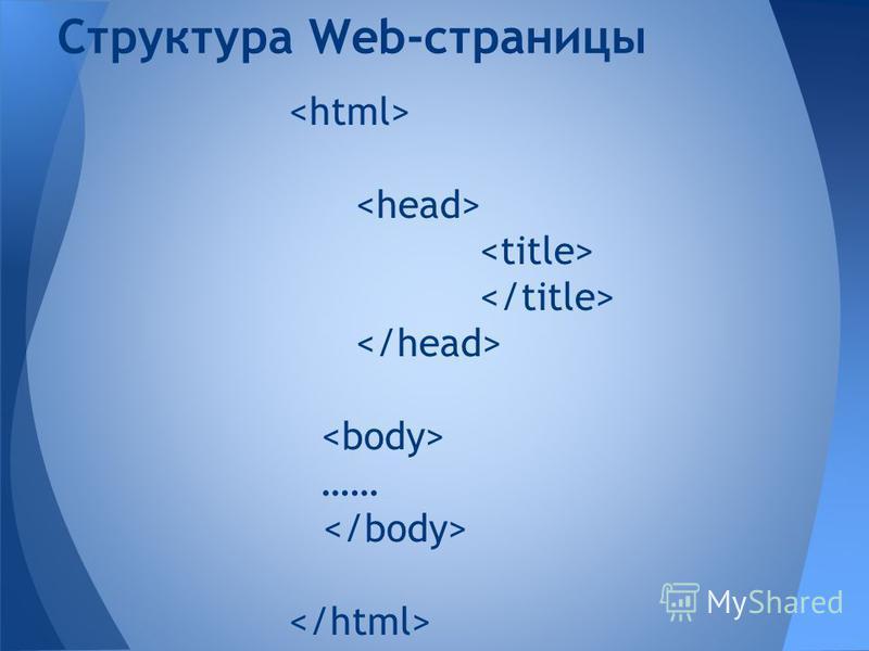 …… Структура Web-страницы