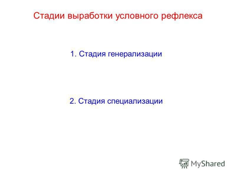 Стадии выработки условного рефлекса 1. Стадия генерализации 2. Стадия специализации