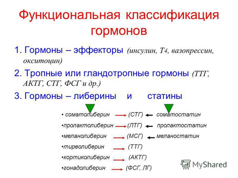 Функциональная классификация гормонов 1. Гормоны – эффекторы (инсулин, Т 4, вазопрессин, окситоцин) 2. Тропные или гландотропные гормоны (ТТГ, АКТГ, СТГ, ФСГ и др.) 3. Гормоны – либерины и статины соматолиберин (СТГ) соматостатин пролактолиберин (ЛТГ