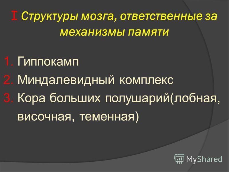 I Структуры мозга, ответственные за механизмы памяти 1. Гиппокамп 2. Миндалевидный комплекс 3. Кора больших полушарий(лобная, височная, теменная)