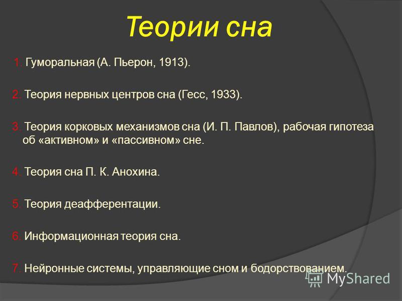Теории сна 1. Гуморальная (А. Пьерон, 1913). 2. Теория нервных центров сна (Гесс, 1933). 3. Теория корковых механизмов сна (И. П. Павлов), рабочая гипотеза об «активном» и «пассивном» сне. 4. Теория сна П. К. Анохина. 5. Теория деафферентации. 6. Инф