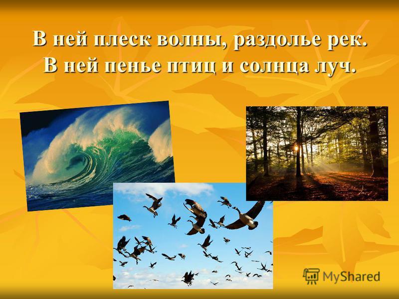 В ней плеск волны, раздолье рек. В ней пенье птиц и солнца луч.