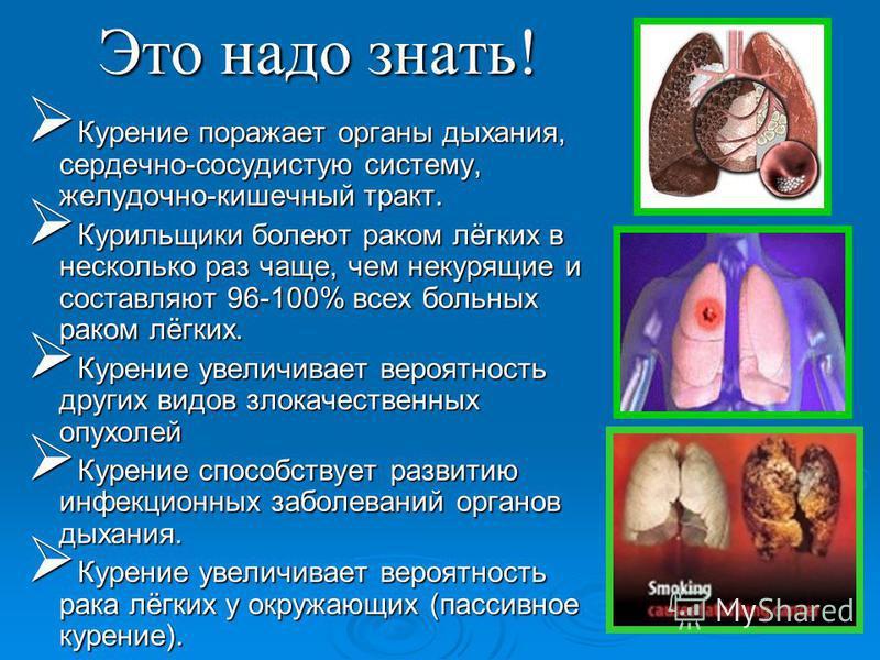 Это надо знать! Курение поражает органы дыхания, сердечно-сосудистую систему, желудочно-кишечный тракт. Курение поражает органы дыхания, сердечно-сосудистую систему, желудочно-кишечный тракт. Курильщики болеют раком лёгких в несколько раз чаще, чем н