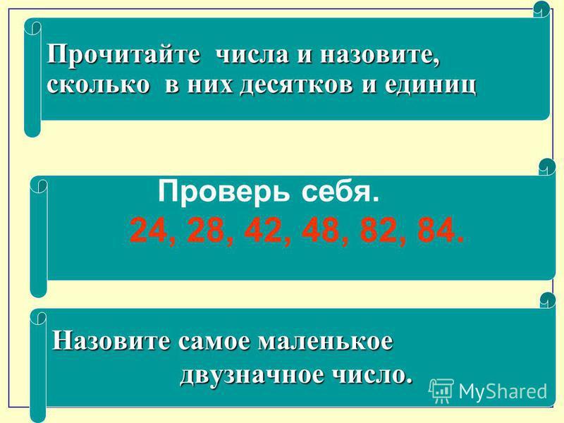 Прочитайте числа и назовите, сколько в них десятков и единиц Проверь себя. 24, 28, 42, 48, 82, 84. Назовите самое маленькое двузначное число. двузначное число.