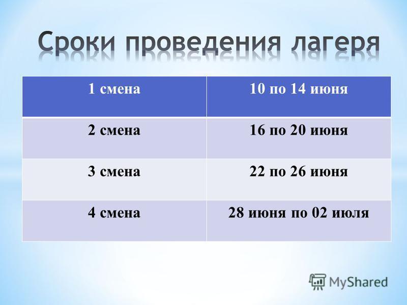 1 смена 10 по 14 июня 2 смена 16 по 20 июня 3 смена 22 по 26 июня 4 смена 28 июня по 02 июля