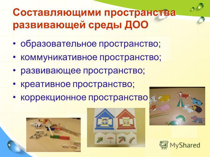 Составляющими пространства развивающей среды ДОО образовательное пространство; коммуникативное пространство; развивающее пространство; креативное пространство; коррекционное пространство
