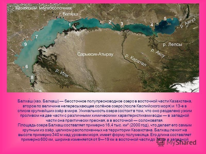 Балха́ш (каз. Балқаш) бессточное полупресноводное озеро в восточной части Казахстана, второе по величине непересыхающее солёное озеро (после Каспийского моря) и 13-е в списке крупнейших озёр в мире. Уникальность озера состоит в том, что оно разделено