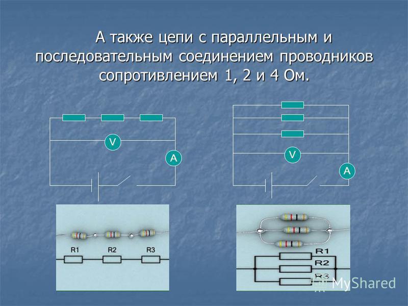 А также цепи с параллельным и последовательным соединением проводников сопротивлением 1, 2 и 4 Ом. А V V А